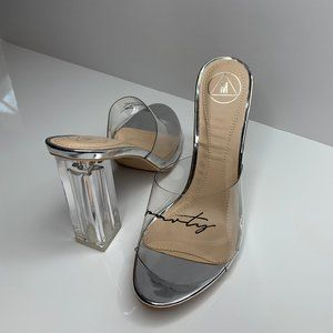 Missguided clear and metallic 'party' heels